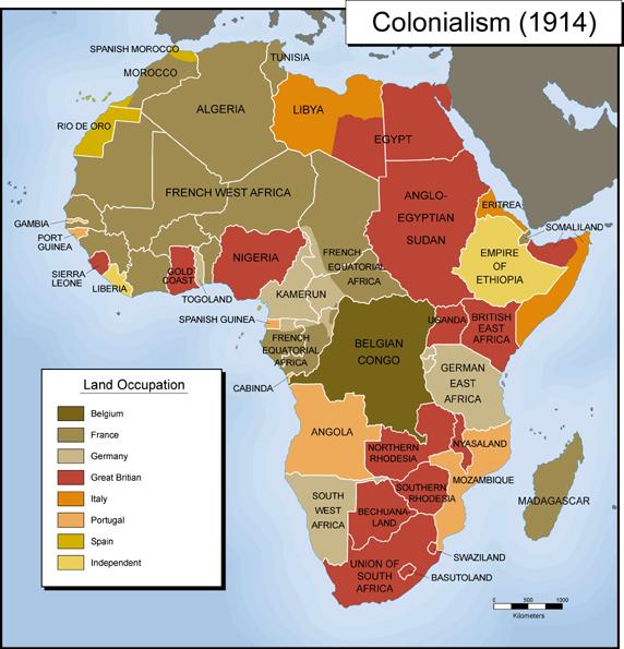 Африканские колонии западных стран на 1914 год: владения Британии, Франции и других стран Европы