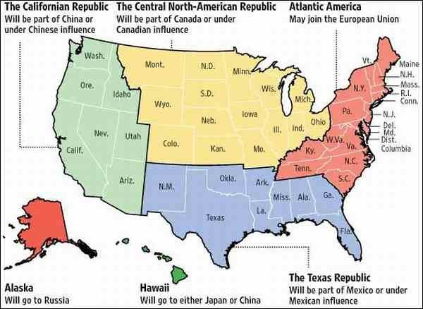Распад США на несколько государств