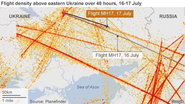 Вот карта интенсивности полетов