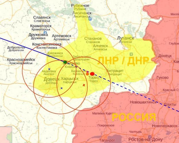 Карта предполагаемого расположения ЗРК «Бук»