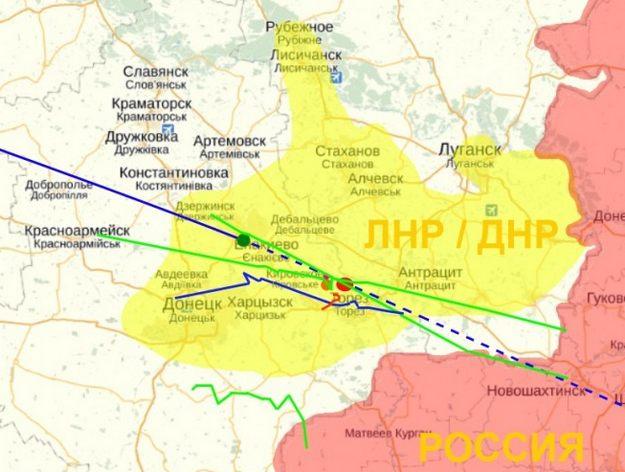 Карта с предполагаемым расположением украинского военного самолёта, преследующего Боинг