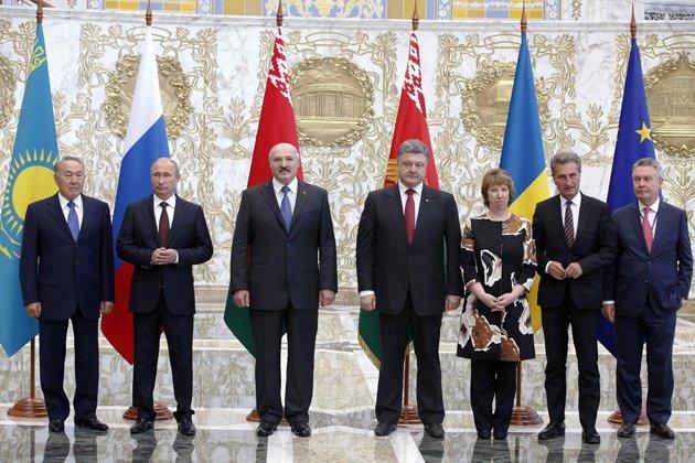 Назарбаев, Путин, Лукашенко, Порошенко, представители ЕС