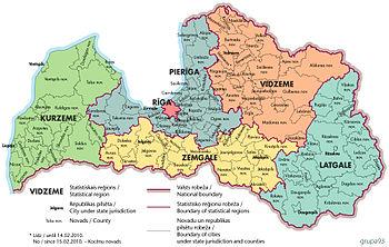 Карта Латвии: Латгалия справа