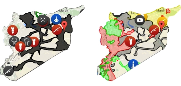 Сирийская территория под контролем ИГИЛ (серая заливка на начало операции ВКС РФ в Сирии 30 сентября 2015 года (левая карта) и 14 марта 2016 года на правой карте)