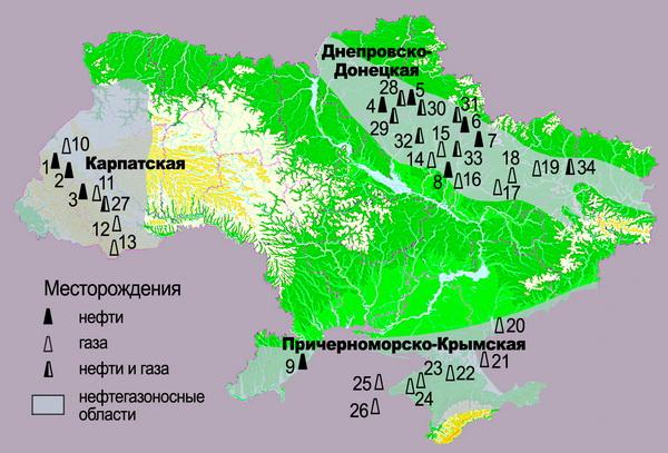 Карта газовых и нефтяных месторождений Украины