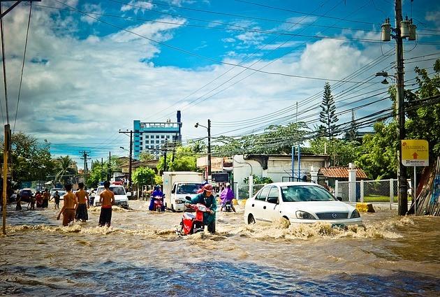 Наводнение после сильного дождя
